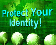 Protegga la vostra identità indica la personalità e la parola d'ordine limitate Fotografia Stock