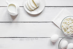 Proteic breakfast concept with dairy products on table top view mockup Stock Photo
