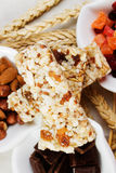 Protein bar. Granola, protein bar with dried fruit, nuts and chocolate Royalty Free Stock Image