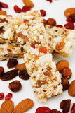 Protein bar with dried fruit royalty free stock photos