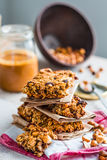 Protein bars granola with seeds, peanut butter and dried fruit, Stock Images
