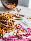 Protein bars granola with seeds, peanut butter and dried fruit, Royalty Free Stock Images