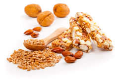 Protein bars with nuts Stock Photography