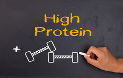 Protein and bodybuilding. Concept on chalkboard Stock Photography