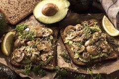 Bread with avocado spread and champignons. Protein bread with avocado spread and champignons royalty free stock image