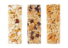 Protein cereal energy bars with nuts and caramel. And chocolate for breakfast on white background stock photography