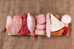 Protein diet. Raw products on the wooden background Stock Photography