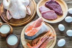 Protein diet: raw products on the wooden background Stock Image