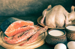 Protein diet: raw products on the wooden background Stock Photos