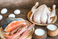 Protein diet: raw products on the wooden background Royalty Free Stock Photography