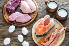 Protein diet: raw products on the wooden background Royalty Free Stock Photo