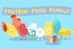 Protein food family. Cute cartoon protein food family smile happily Stock Photo