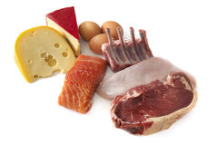 Protein Foods. Sources of protein, including cheese, eggs, fish, lamb, chicken and beef.  Isolated on white Stock Photos