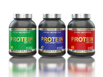 Protein jars isolated on white with reflection. Sport nutrition, bodybuilding supplements, sport diet concept - whey isolate, soy and egg protein jar cans in Royalty Free Stock Images