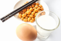 Protein meal with peanut ,milk and egg Stock Image