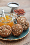 Protein muffin  with jam Royalty Free Stock Photo