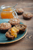 Protein muffin  with jam Royalty Free Stock Photography