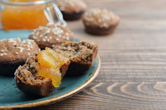 Protein muffin  with jam Stock Image