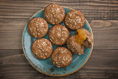 Protein muffin  with jam Royalty Free Stock Photos