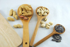 Protein from peanuts pistachio nuts and sunflower seeds Stock Images