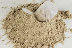 Protein Powder 3. A pile of chocolate protein powder with a scoop Stock Images
