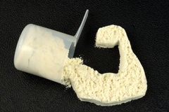 PROTEIN POWDER POWER ARM royalty free stock photos