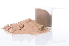 Protein powder and scoop Royalty Free Stock Photography