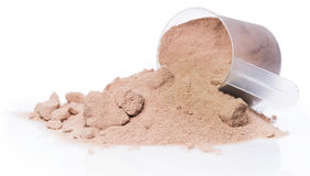 Protein powder and scoop Stock Image
