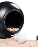 Protein powder and scoop. Whey protein powder and scoop Royalty Free Stock Photography