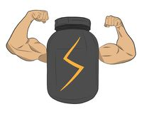 Protein power energy jar with muscle hands vector drawing illustration royalty free stock photo