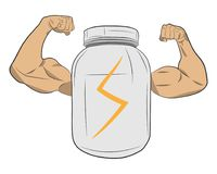 Protein power energy jar with muscle hands vector drawing illustration stock images