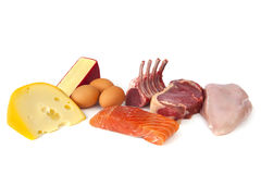 Protein Rich Foods. Foods rich in protein, including cheese, eggs, fish, lamb, beef and chicken.  Nutritious eating Stock Photos