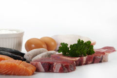 Protein rich foods in close up Royalty Free Stock Images
