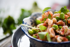 Protein salad with crayfish,edamame Stock Images