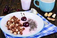 Protein-Schokolade Beakfast mit Chia Seeds und Erdnüssen lizenzfreie stockbilder