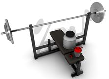 Protein shake. Illustration for body building consisting of a protein shake set resting on a bench press used for weigth lifting Royalty Free Stock Photos