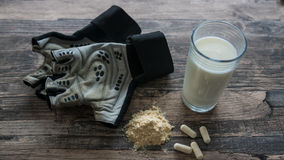 Protein Shake 5. Protein Shake and Fitness Gloves 5 royalty free stock images