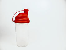 Protein shaker. Shaker for proteins, bodybuilding, fitness royalty free stock photography