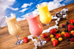 Protein shakes, sport and fitness Stock Image