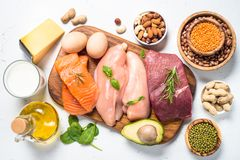 Protein sources - meat, fish, cheese, nuts, beans and greens. Protein sources. Meat, fish, eggs, cheese, milk, nuts greens oil beans and lentils on white royalty free stock photo