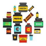 Protein sport nutrition icons set, flat style. Protein sport nutrition containers icons set. Flat illustration of 16 train toy children vector icons for web Royalty Free Stock Photos