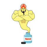 Protein strong Genie. Genie departs from banks with sports nutri Royalty Free Stock Photography