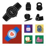 Protein, Vitamine und andere Ausrüstung für die Ausbildung Turnhalle und gesetzte Sammlungsikonen des Trainings im schwarzen, fla Lizenzfreie Stockfotografie