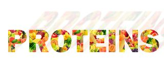 Protein written with different fruits.  stock image
