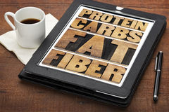 Proteina, carburatori, grasso e fibra Fotografia Stock Libera da Diritti
