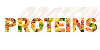 Proteina pisać z różnymi owoc obraz stock