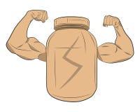 Proteinenergie-Energieglas mit dem Muskel übergibt Vektorzeichnungsillustration Stockfotografie