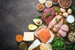 Proteinkällor - kött, fisk, ost, muttrar, bönor och gräsplaner fotografering för bildbyråer