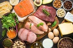 Proteinkällor - kött, fisk, ost, muttrar, bönor och gräsplaner royaltyfri fotografi
