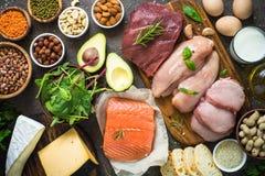 Proteinkällor - kött, fisk, ost, muttrar, bönor och gräsplaner arkivbild